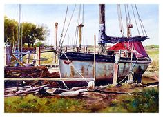 """Old nobby boat, Skippool Creek by Graham Berry Watercolor ~ 12"""" x 19"""""""