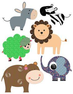 Printable party decor lion zebra hippopotamus elephant clipart Clip art decoration pdf file digital birthday party scrapbooking tag diy 402