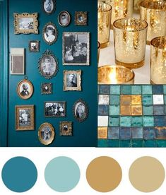 Christmas Colour Palette- Teal & Gold Today's Christmas colour palette of teal and gold is somewhat of a modern take on green and gold but I fell in love with the richness of the teal combined with the different shimmering golds. Living Room Color Schemes, Teal Color Schemes, Gold Color Scheme, Aqua Color Palette, Teal Paint Colors, Teal And Gold, Teal Green, Teal Gold Wedding, Gold Weddings