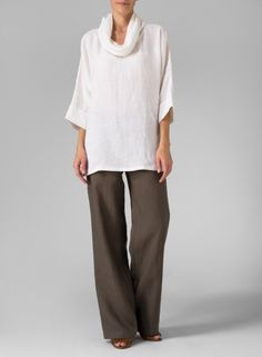 MISSY Clothing - Linen Cowl Neck Top