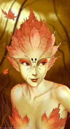 Forest/Wood Fae - The_divide Picture illustration, fantasy, fairy, girl) Magical Creatures, Fantasy Creatures, Fantasy World, Fantasy Art, Drawn Art, Autumn Fairy, Illustration Art, Illustrations, 3d Drawings