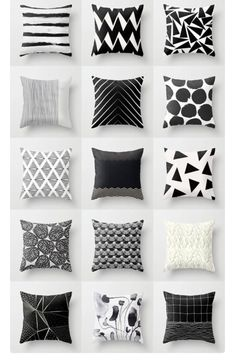 9 All Time Best Tips: Decorative Pillows Quotes Reading Nooks cute decorative pillows blankets.Decorative Pillows With Sayings Sweets decorative pillows ideas floor cushions.Decorative Pillows On Sofa Inspiration. Black And White Cushions, Black White Decor, Black And White Living Room Ideas, White Sofas, Geometric Cushions, Geometric Art, Throw Pillow Cases, Soft Furnishings, Pillow Design