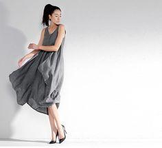 Gray dress / Strap Dress/ Cotton linen Dress / Maxi dress / casual dress/ women dress 021