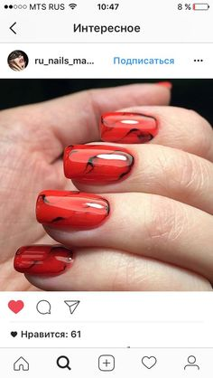 70 Gorgeous Red Nail Art Designs For Stylish Women - Page 10 of 70 - nails - Nail Art Designs, Black Nail Designs, Nails Design, Red Acrylic Nails, Red Nail Art, Red Art, Red Black Nails, Art Simple, Uñas Fashion