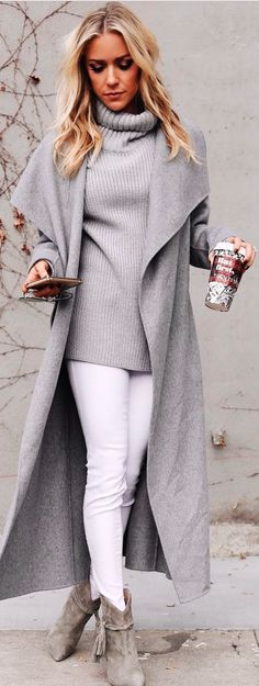 #winter #outfits  gray cowl neckline dress and white pants
