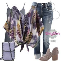 Set Includes 3 items  Gray Feather Print Blouse, Gray Nylon Tank   Earrings. af91eae7dc