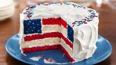 Guests will be delightfully surprised when you slice into this cake and reveal its patriotic design.