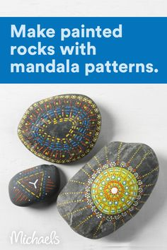 Rock Painting Patterns, Rock Painting Ideas Easy, Dot Art Painting, Rock Painting Designs, Paint Designs, Stone Painting, Mandala Painted Rocks, Mandala Rocks, Mandala Art