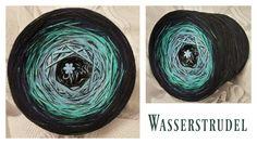 Wasserstudel (Mix) 6 Farben: schwarz mittelblau aqua oceangrün marine schwarz PLUS ein Faden schwarz durchgehend wahlweise mit Lurex durchgehend