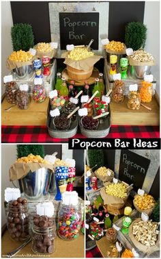 Popcorn Bar Ideas - a delicious snack buffet idea including sweet and salty mix-. :separator:Popcorn Bar Ideas - a delicious snack buffet idea including sweet and salty mix-. Party Knaller, Party Fiesta, Snacks Für Party, Ideas Party, Popcorn Bar Party, Wedding Popcorn Bar, Party Food Bars, Movie Popcorn, Fun Ideas