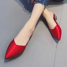 [leggycozy] Korean Fashion Casual Pointed Toe Solid Color Silk Mules S Kawaii Shoes, Korean Fashion Casual, Mules Shoes, Slippers, Toe, Silk, Heels, Color, Heel