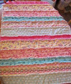 baby girl rag quilt, Jelly roll style