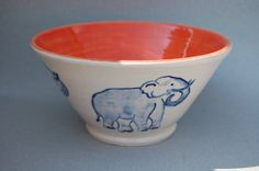 Handmade Elephant Bowl Blue White Orange Hand by REDceramics, £25.00