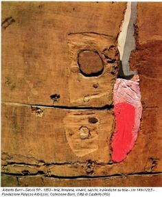 'Sack 1953 Mixed Media Collage by Alberto Burri Abstract Art Images, Abstract Geometric Art, Abstract Drawings, Abstract Paintings, Alberto Burri, Neo Dada, Art Informel, Guernica, Italian Painters