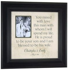 YOU RAISED With LOVE, Custom Wedding Picture Frame Personalized, Mother of the Groom Gift, Parents of the Groom Gift ( 16 X 16 ) via Etsy