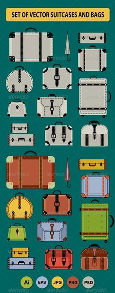 Travel Bags and Suitcases  #GraphicRiver         A set of vector elements, that may be needed creative designers. Scaleable vector files suitable for print and web projects. All of the colours can be edited .You can simply edit the colours in the supplied files.   Set of the vector elements include: Of different type, size and color of travel bags and suitcases