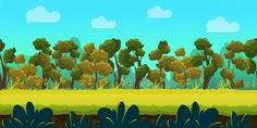 Game dev market presents cool game assets and backgrounds.  Here is Game background landscape scenery, with trees, roads, grass etc. only for 2$