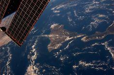 """""""Our view of Mount Etna erupting, October 26"""" Astronaut Karen Nyberg."""
