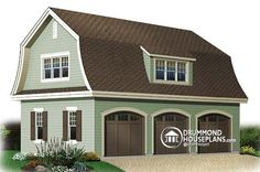 Garage plan W3984, Gambrel style garage with bonus    The gambrel roof of this 3-bay garage make it a popular model when a country feeling is being sought. Three bays with graceful arched doors are balanced by a shed dormer. 804 sq ft of garage and 594 sq. ft. of bonus space can be developed as desired.