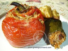 Greek Food Recipes and Reflections: Gemista… Stuffed Peppers and Zucchini (Vegetarian)