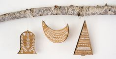 laser cut bamboo plywood ornaments
