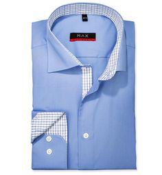 Modern Fit polopriliehavá košeľa Modrá jednofarebná 100% bavlna Popelín (plátno)
