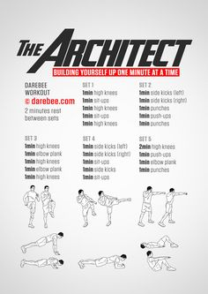 The Architect is an endurance developing workout that will make your lungs scream. Home Exercise Routines, At Home Workout Plan, Workout Routines, Gym Workouts, At Home Workouts, Weight Workouts, Workout Fitness, Men's Fitness, Fitness Exercises