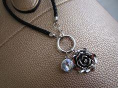 Genuine black leather strap purse charm leather by LeeliaDesigns