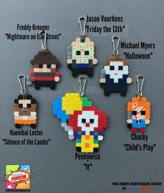 12 Halloween Party Favors Zipper Pulls Keychain Horror Movie Favors Halloween Party Supplies Hannibal Michael Myers Chucky Pennywise Halloween Party Favors Set Of 12 Horror Movie Favors Etsy Perler Bead Designs, Perler Bead Templates, Diy Perler Beads, Perler Bead Art, Pearler Beads, Movie Party Favors, Christmas Party Favors, Halloween Party Favors, Fete Halloween