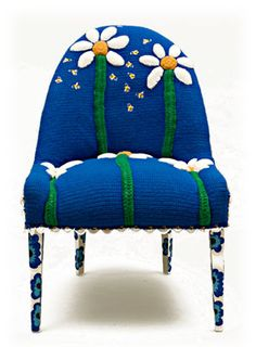 Please, please don't eat the Daisies!  Fiber Art Furniture - Sculptured flowers on acrylic hand crochet base.