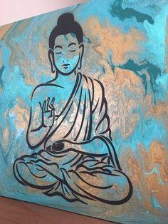 Jade & Gold Abstract Acrylic Buddha on Canvas inches Buda Painting, Mandala Painting, Painting Art, Buddha Wall Art, Buddha Buddha, Buddha Wall Painting, Diy Canvas, Canvas Art, Buddha Drawing
