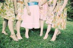Vintage floral mismatched bridesmaid dresses.