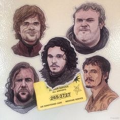 Do you miss Game of Thrones? Tyrion, The Hound, Hodor, Oberyn and Jon Snow can now adorn your fridge year round, magnet style!  Includes all 5