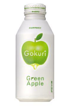 """""""Suntory Gokuri Green Apple"""" Apple Packaging, Juice Packaging, Cool Packaging, Food Packaging Design, Beverage Packaging, Bottle Packaging, Probiotic Drinks, Message In A Bottle, Juice Bottles"""