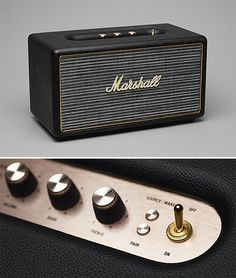 Marshall Stanmore Bluetooth Speaker - It looks like a classic Marshall tube amp with its gold, vintage-style analog knobs and the old school cloth grill but it's actually an 80-watt home speaker system. It's got built-in bluetooth or you can plug in your turntable, tape deck, or iPod with its 3.5mm audio & RCA inputs. | Werd