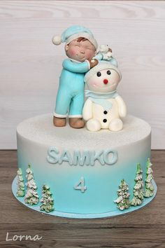Little boy and snowman by Lorna