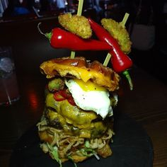 @wslcantina a burger created by me. The End burger. Grilled cheese waffles  all beef patties deep fried pickles and jalapeños. Fried egg and onion strings. Weep at the magnificence. Coming soon to Who Song and Larry's