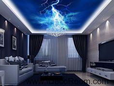 Lightning Dark Blue Sky 00060 Ceiling Wall Mural Wall paper Decal Wall Art Print Decor Kids wallpaper
