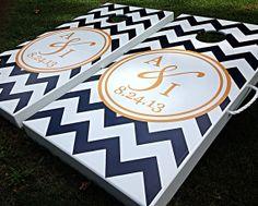 Custom Chevron Personalized Cornhole Board Sets on Etsy, $230.00