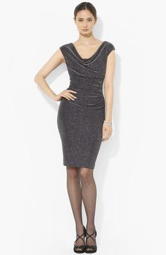 Lauren Ralph Lauren Cowl Neck Metallic Dress available at #Nordstrom