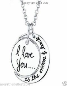 """Sterling Silver """"I Love You To The Moon and Back"""" Pendant 18"""" Necklace Jewelry"""