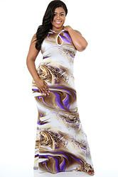 Multi Colored Snake Print Maxi Dress (Plus Size)