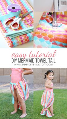 Here's a collection of DIY mermaid tails sewing and no sewing projects perfect for little girls who like to play dress up. Craft Tutorials, Sewing Tutorials, Sewing Hacks, Sewing Projects, Diy Mermaid Tail, Mermaid Towel Tail, Mermaid Mermaid, Vintage Mermaid, Mermaid Birthday