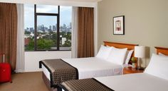 The City View Queen Queen Room at Rydges Camperdown. Queen Room, Queen Queen, Hotel S, Pacific Ocean, Outdoor Furniture, Outdoor Decor, Sydney Australia, Bed, Home Decor