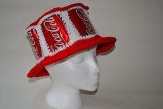 crochet coke can hat - My husband actually has a hat very similar to this that someone made for him ages ago...