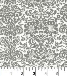 Snuggle Flannel Fabric-Gray Damask On White
