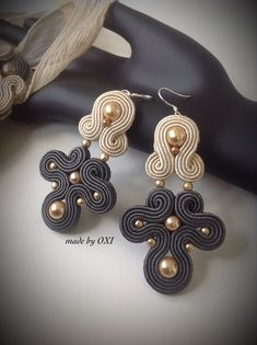 Shibori, Diy And Crafts, Arts And Crafts, Soutache Earrings, Gel Nails, Jewerly, Jewelry Design, Fashion Jewelry, Ribbon