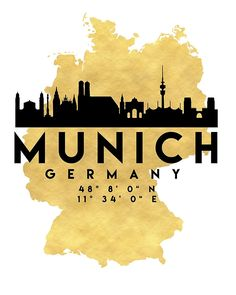 MUNICH GERMANY SILHOUETTE SKYLINE MAP ART -  The beautiful silhouette skyline of Munich and the great map of Germany in gold, with the exact coordinates of Munich make up this amazing art piece. A great gift for anybody that has love for this city.  munich germany downtown silhouette skyline map coordinates souvenir gold deificus art