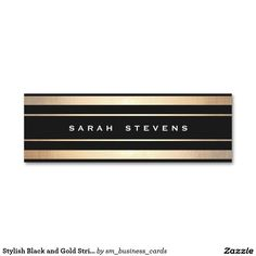 Stylish Black and Gold Striped Modern Professional Business Card Templates