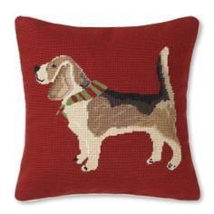 Needlepoint Dog Pillow Cover, Beagle